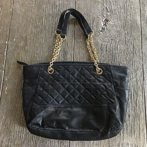 Isaac Mizrahi Black Leather Quilted Bag